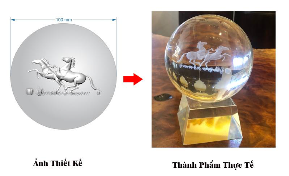 quả cầu pha lê khắc 2 ngựa mã đáo thành công